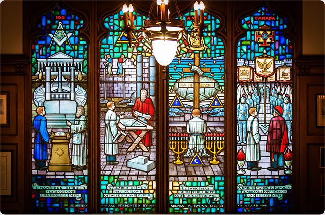 Stained Glass at the Ancient and Accepted Scottish Rite Building in Hamilton, Ontario